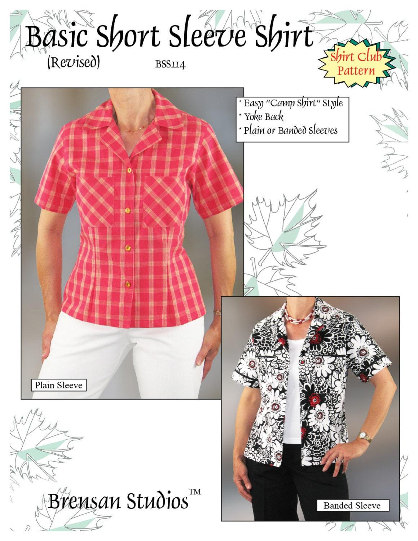 Basic short sleeve shirt sewing pattern camp shirt style bss114 1495 jeuxipadfo Images
