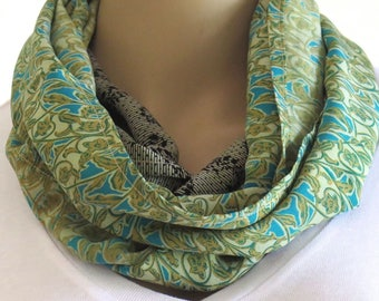Green Infinity Scarf, Round Scarf