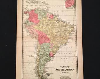 Antique map of South America 1858 original large handcolored
