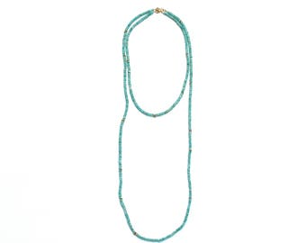 Amazonite Layer Necklace, Gemstone Long Layer, Blue Green Turquoise Beaded Necklace