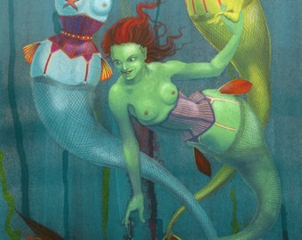 SALE! - 'Fishnets' - fantasy art - Alternative Mermaids, in corsets and fishnets!