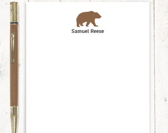 personalized notePAD - BEAR SILHOUETTE - stationery - letter writing paper - boys stationary - masculine notepad - writing notepad