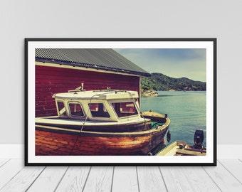 Retro Old Boat Print, Wooden Sailboat Print, Boat Art, Harbor Photograph, Boat Print, Lake House Decor