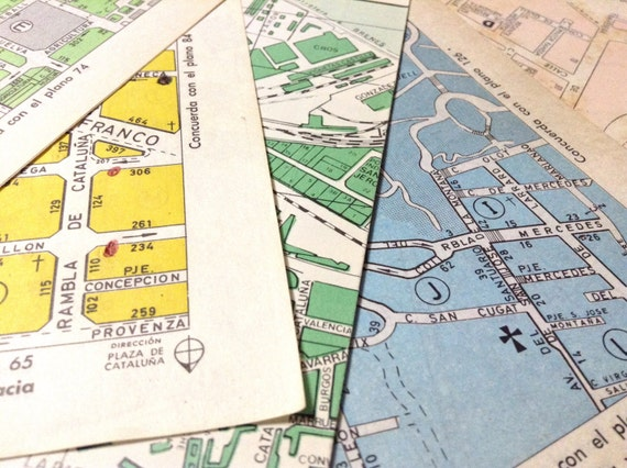 12 CITY CENTER vintage color maps from Spanish cities