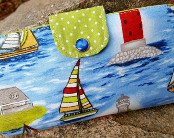 Lighthouse Checkbook Cover, Sail Boat Coupon Wallet, Lighthouse Wallet, Lighthouse Fabric Checkbook Case, Nautical Checkbook Cover