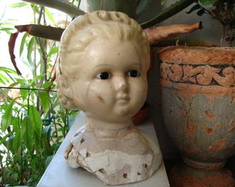 antique,wax over papier-mache,pumpkin head,shoulder plate doll head, glass eyes molded  blonde hair, hairband for display only