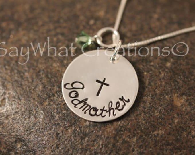 Godmother Necklace Custom Hand Stamped Sterling Silver