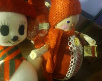 Vintage Mid Century Kitschy Girl in Red with Christmas Presents and Frosty the Snowman made in Japan