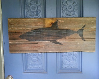 Shark wall art,  upcycled wood, great white, wooden sign