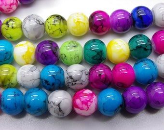 54-55 beads 8 mm glass painted bomb 1 hole