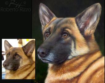Custom Fine Art Dog Portrait | Original Artwork on Commission 100% Handpainted by the Artist Roberto Rizzo
