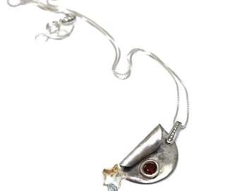 artisan sterling silver, necklace,  garnet, womans, Unique, swarovski, artisan, minimalist, boho, contemporary, minimalist,  Free shipping!