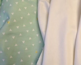 Mint Green Triangle fabric bundled with Solid Cream Fabric, Designer Fabric By The Yard, Quilting Fabric