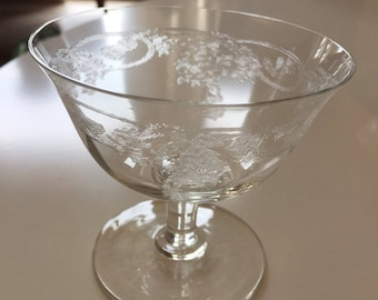 Thistle Etched Martini Glass