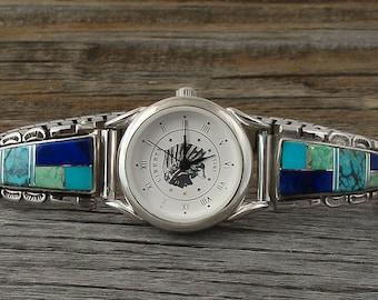 Navajo Silver Lapis Turquoise Multi Inlay Women's Watch,Lapis Turquoise watch,Multi Inlay Women's Watch,Navajo Silver watch, Turquoise watch