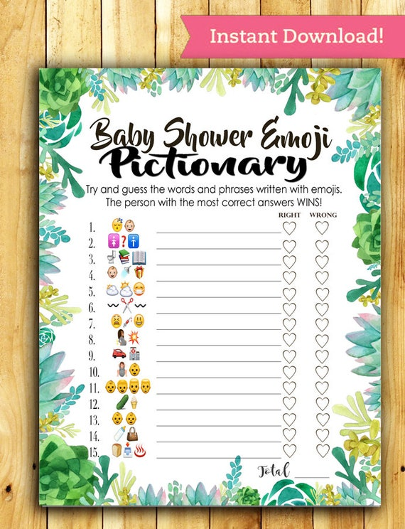 Baby Shower Emoji Pictionary Baby Shower Game Succulent