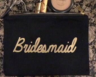 Bridesmaid  Black Canvas Makeup Bag