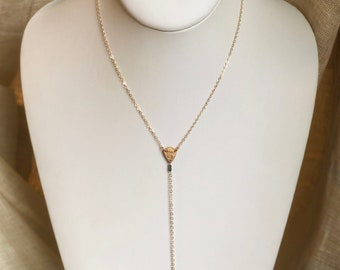 Diamond Shield Y Necklace