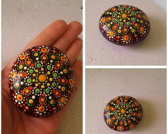My Mother-in-law super stone#hand painted#orange and green# one of a kind# unique price#