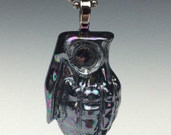 Porcelain Grenade Pendant with Hematite