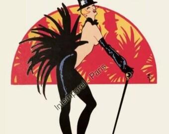 "Original poster - Bal du Moulin Rouge ""Women, women,"" 1973 - signed - OATMEAL 40 x 60 cm"