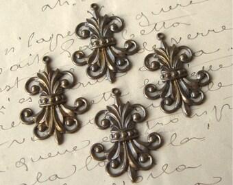 Brass Ox Fleur de Lis Filigree Stamped Charms (4)