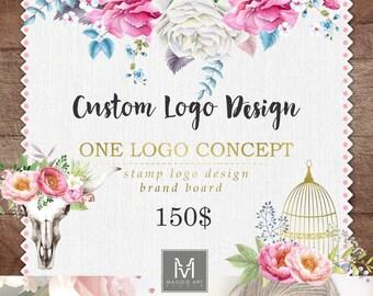 Custom Logo Design, ONE CONCEPT,  stamp logo, brand board, watermark