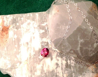"11x9mm Pink Topaz & Sterling Silver 18"" Necklace"