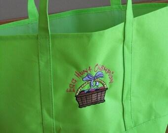 Easter Egg Hunt Embroidered Canvas Tote Bag