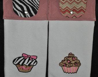 "Embroidered Dish Towel ""Zebra  Leopard Print"" Cupcake Set"