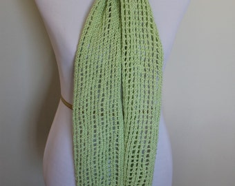 Lightweight green lace knit scarf