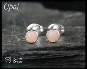 October birthstone earrings - Natural pink opal gemstone earrings, 4mm, in a sterling silver bezel setting. Sleepers, stud earrings. 112