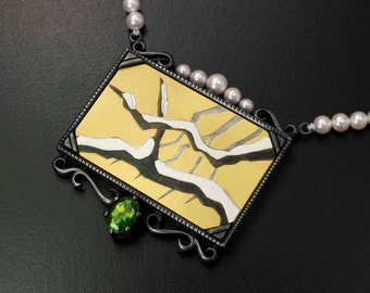 Gold Keum Boo winter art silver necklace with Akoya pearls and a green zircon.