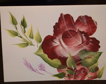 Hand Painted Rose Note Card Set of 6
