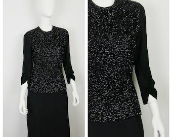 Vintage 1940s Dress / 40s Black Sequined Dress / Medium