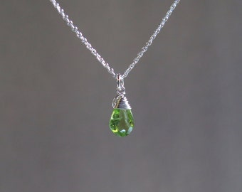 Peridot Necklace - August Birthstone - Sterling Silver
