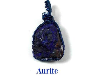 Azurite: Stone of Heaven.  Wire Wrapped Pendant. Clairvoyance, Telepathy, Enlightenment, Indigo Adult Balancing, Manifestation, Blue Ray #82