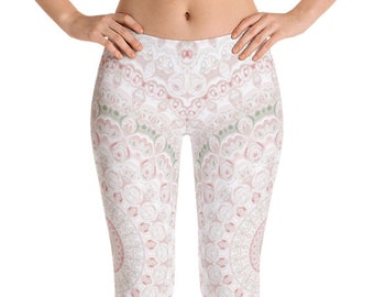 Spring Leggings, Yoga Wedding Bridesmaid Gifts for Her, Printed Leggings for Women