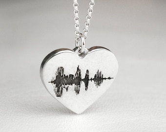 Heart Sound Wave Necklace Soundwave Sterling Silver Personalized