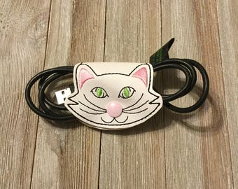 Cord keeper, cat cord keeper, dog cord keeper, embroidered, handmade, cord organizer, earbuds, phone cord, charger cord, travel, car charger