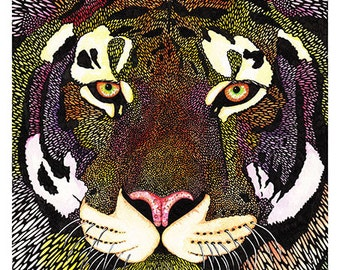 Tiger - A5 Animal Pattern Tiger Print Signed and Numbered Print