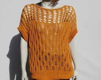 Cotton Knitwear-Loose Sweater-Openwork Top-Summer Knitwear-Knitted Sweater-Womens Blouse-Knit Sweater Women-Neck Top-Opework Blouse