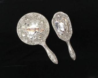 Vintage Silver Plated Dresser Set, Mirror and Brush, Vanity Set, Bridal Gift, Wedding, Repousse Floral Design