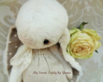 Сollectible Bunny Pearl, dressed small Teddy Bunny, artist teddy bunny, stuffed toy, teddy bear