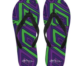 Joker Madness Canvas and Vinyl Flip Flops- Men's and Women's: S, M, L, XL