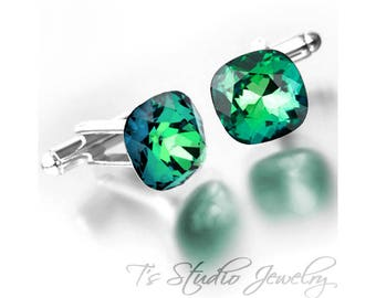 Cufflinks - Cushion Cut Emerald Aqua Green Cuff Links - Available in your choice of colors
