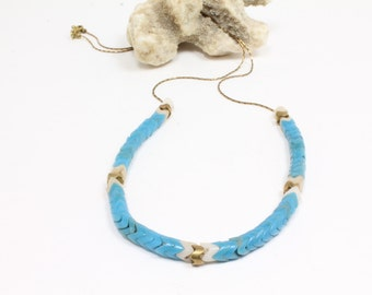 RESERVED for CLAIRE CAILLARD Turquoise Tribal  Beaded Necklace x3