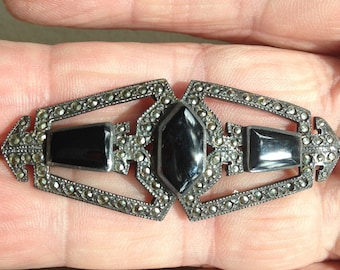 Marcasite and Onyx Sterling Silver Brooch
