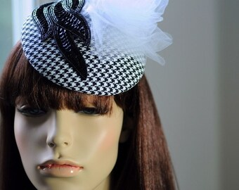 Power Suit Hat Hand Blocked Dog Tooth Beret