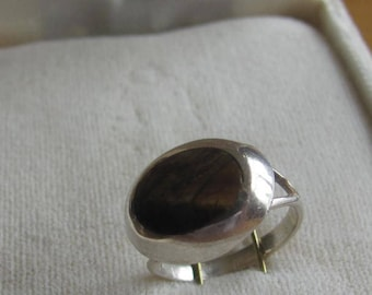 Vintage Ring, Sterling Silver Ring, Oval Gold Agate, Made in Mexico Ring,  925 Silver, Collectible Jewelry